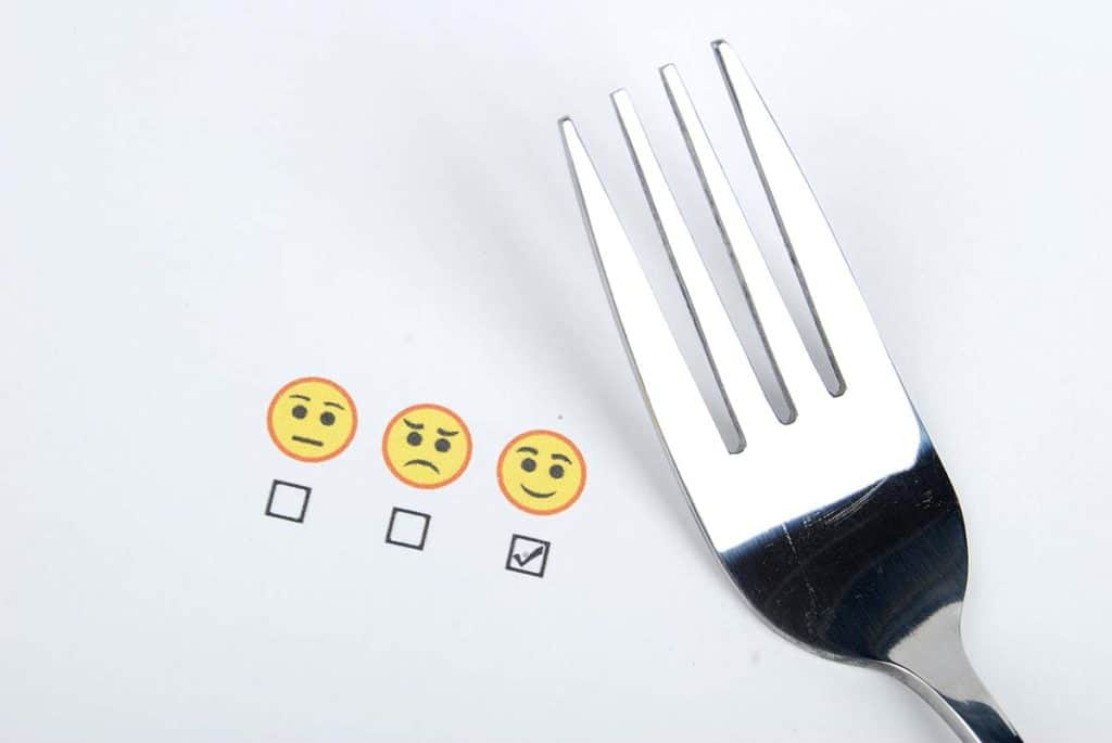 decorative image of customer support survey and fork