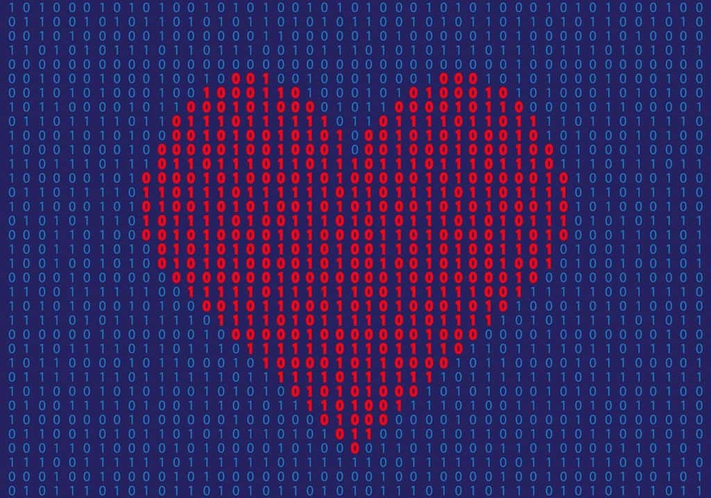 graphic of a heart appearing in binary code to illustrate customer loyalty